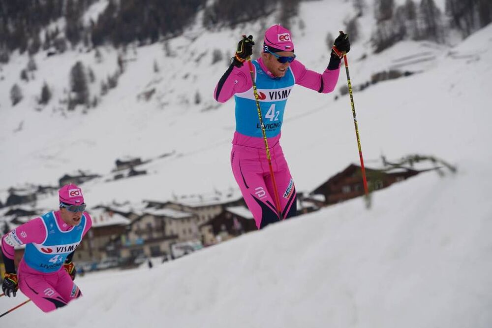 30.11.2018, Livigno, Italy (ITA):Jan Srail (CZE), Alexis Jeannerod (FRA), (l-r)  - Visma Ski Classics La Sgambeda, Pro Team Prologue, Livigno (ITA). www.nordicfocus.com. © Rauschendorfer/NordicFocus. Every downloaded picture is fee-liable.