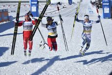 10.03.2019, Oslo, Norway (NOR):Natalia Nepryaeva (RUS), Therese Johaug (NOR), Ebba Andersson (SWE) - FIS world cup cross-country, mass women, Oslo (NOR). www.nordicfocus.com. © Thibaut/NordicFocus. Every downloaded picture is fee-liable.