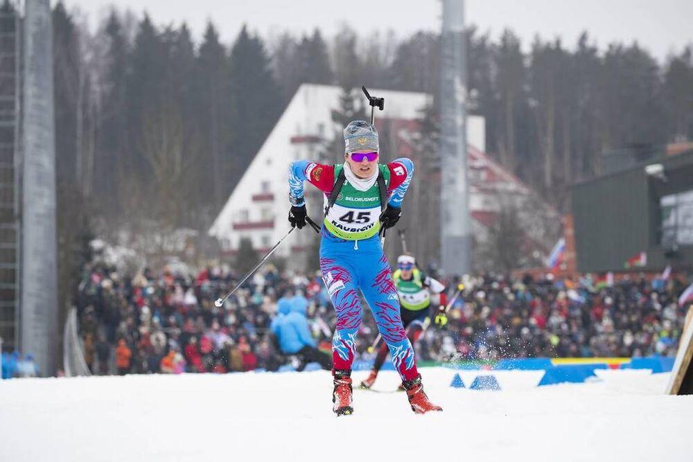 24.02.2019, Minsk-Raubichi, Belarus (BLR):Natalia Gerbulova (RUS) - IBU Open European championships biathlon, pursuit women, Minsk-Raubichi (BLR). www.nordicfocus.com. © Manzoni/NordicFocus. Every downloaded picture is fee-liable.