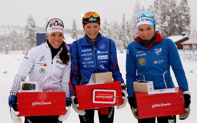 TOP 3 i damklassen, fr v: Charlotte Kalla, Frida Karlsson och Moa Lundgren. Foto/rights: KJELL-ERIK KRISTIANSEN/kekstock.com