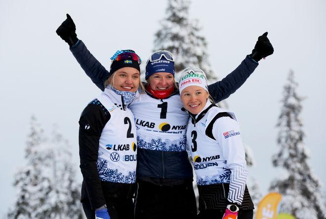NADINE FÄHNDRICH kunde jubla över seger efter en svensk masskrock. Linn Svahn (tv) var tvåa och Jonna Sundling trea. Foto/rights: KJELL-ERIK KRISTIANSEN/kekstock.com