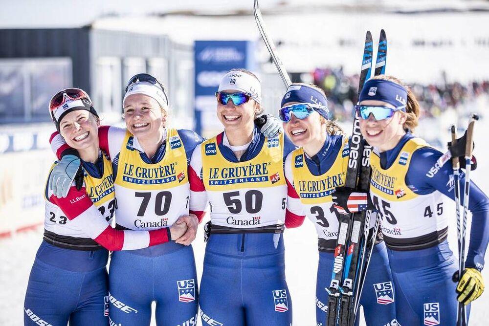 24.03.2019, Quebec, Canada (CAN):Jessica Diggins (USA), Sophie Caldwell (USA), Sadie Bjornsen (USA), Julia Kern (USA), Alayna Sonnesyn (USA), Katharine Ogden (USA), (l-r)  - FIS world cup cross-country, pursuit women, Quebec (CAN). www.nordicfocus.com. �