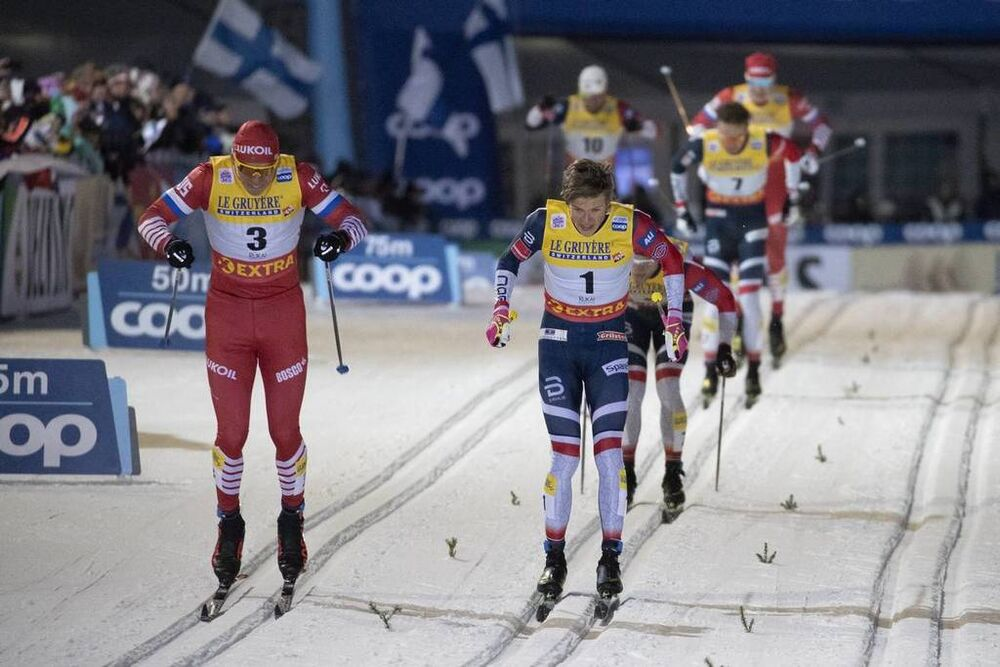 24.11.2018, Ruka, Finland (FIN):Alexander Bolshunov (RUS), Johannes Hoesflot Klaebo (NOR), (l-r)  - FIS world cup cross-country, individual sprint, Ruka (FIN). www.nordicfocus.com. © Modica/NordicFocus. Every downloaded picture is fee-liable.