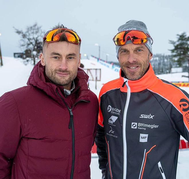 PETTER NORTHUG (tv) skall åka Vasaaloppet tillsammans med Anders Aukland (th) och Team Ragde Eiendom. Men han har inga ambitioner i vinter – men kanske om två år! Foto: TEAM RAGDE EIENDOM