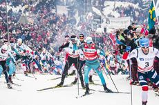 10.03.2018, Oslo, Norway (NOR):Simen Andreas Sveen (NOR), Dario Cologna (SUI), Maurice Manificat (FRA), Martin Johnsrud Sundby (NOR), (l-r)  - FIS world cup cross-country, mass men, Oslo (NOR). www.nordicfocus.com. © Modica/NordicFocus. Every downloaded