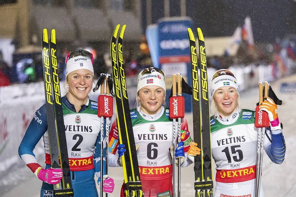 29.11.2019, Ruka, Finland (FIN):Sadie Maubet Bjornsen (USA), Maiken Caspersen Falla (NOR), Jonna Sundling (SWE), (l-r)  - FIS world cup cross-country, individual sprint, Ruka (FIN). www.nordicfocus.com. © Modica/NordicFocus. Every downloaded picture is