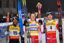 29.11.2019, Ruka, Finland (FIN):Richard Jouve (FRA), Johannes Hoesflot Klaebo (NOR), Paal Golberg (NOR), (l-r)  - FIS world cup cross-country, individual sprint, Ruka (FIN). www.nordicfocus.com. © Modica/NordicFocus. Every downloaded picture is fee-liab