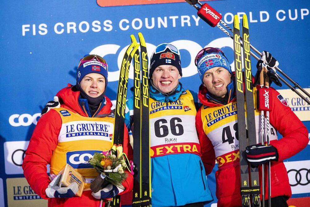 30.11.2019, Ruka, Finland (FIN):Johannes Hoesflot Klaebo (NOR), Iivo Niskanen (FIN), Emil Iversen (NOR), (l-r)  - FIS world cup cross-country, 15km men, Ruka (FIN). www.nordicfocus.com. © Modica/NordicFocus. Every downloaded picture is fee-liable.