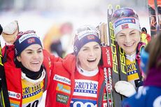 01.12.2019, Ruka, Finland (FIN):Heidi Weng (NOR), Therese Johaug (NOR), Astrid Uhrenholdt Jacobsen (NOR), (l-r) - FIS world cup cross-country, pursuit women, Ruka (FIN). www.nordicfocus.com. © Modica/NordicFocus. Every downloaded picture is fee-liable.