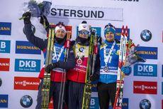 01.12.2019, Oestersund, Sweden, (SWE):Tarjei Boe (NOR), Johannes Thingnes Boe (NOR), Matvey Eliseev (RUS) - IBU world cup biathlon, sprint men, Oestersund (SWE). www.nordicfocus.com. © Nico Manzoni/NordicFocus. Every downloaded picture is fee-liable.