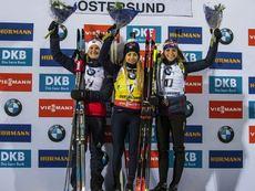 01.12.2019, Oestersund, Sweden, (SWE):Marte Olsbu Roeiseland (NOR), Dorothea Wierer (ITA), Marketa Davidova (CZE) - IBU world cup biathlon, sprint women, Oestersund (SWE). www.nordicfocus.com. © Nico Manzoni/NordicFocus. Every downloaded picture is fee-