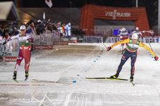 30.11.2019, Ruka, Finland (FIN):Jens Luraas Oftebro (NOR), Vinzenz Geiger (GER), (l-r)  - FIS world cup nordic combined, individual gundersen HS142/10km, Ruka (FIN). www.nordicfocus.com. © Modica/NordicFocus. Every downloaded picture is fee-liable.