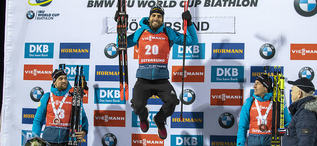 04.12.2019, Oestersund, Sweden, (SWE):Simon Desthieux (FRA), Martin Fourcade (FRA), Quentin Fillon Maillet (FRA) - IBU world cup biathlon, individual men, Oestersund (SWE). www.nordicfocus.com. © Nico Manzoni/NordicFocus. Every downloaded picture is fee