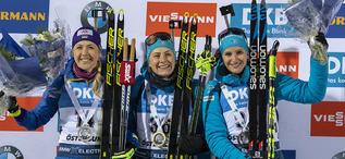 05.12.2019, Oestersund, Sweden, (SWE):Yuliia Dzhima (UKR), Justine Braisaz (FRA), Julia Simon (FRA) - IBU world cup biathlon, individual women, Oestersund (SWE). www.nordicfocus.com. © Nico Manzoni/NordicFocus. Every downloaded picture is fee-liable.