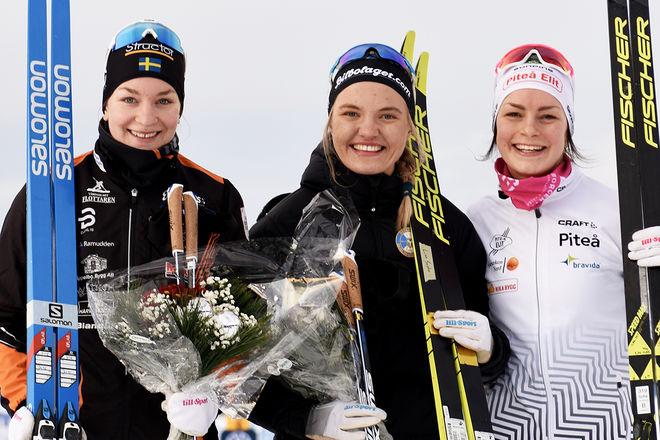 2,6 SEKUNDER var avståndet från ettan till trean i D21 i Idre. Fr v: Moa Olsson 2:a, Linn Svahn 1:a och Sofia Henriksson 3:a. Foto/rights: ROLF ZETTERBERG/kekstock.com