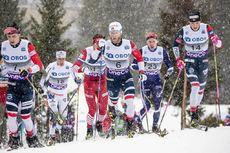 02.12.2018, Lillehammer, Norway (NOR):Simen Hegstad Krueger (NOR), Martin Johnsrud Sundby (NOR), Johannes Hoesflot Klaebo (NOR), (l-r)  - FIS world cup cross-country, pursuit men, Lillehammer (NOR). www.nordicfocus.com. © Modica/NordicFocus. Every downl