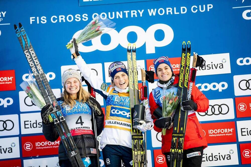 07.12.2019, Lillehammer, Norway (NOR):Jessica Diggins (USA), Therese Johaug (NOR), Heidi Weng (NOR), (l-r)  - FIS world cup cross-country, skiathlon women, Lillehammer (NOR). www.nordicfocus.com. © Modica/NordicFocus. Every downloaded picture is fee-lia