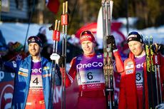 07.12.2019, Lillehammer, Norway (NOR):Hans Christer Holund (NOR), Alexander Bolshunov (RUS), Emil Iversen (NOR), (l-r)  - FIS world cup cross-country, skiathlon men, Lillehammer (NOR). www.nordicfocus.com. © Modica/NordicFocus. Every downloaded picture