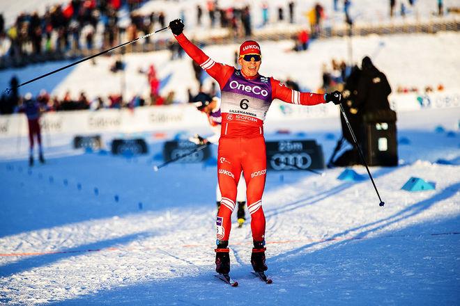 DET VAR MÅNGA bud på norsk seger i skiathlon på Lillehammer, men det var Alexander Bolshunov som kunde jubla till slut. Foto: NORDIC FOCUS