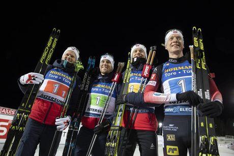 07.12.2019, Oestersund, Sweden, (SWE):Johannes Dale (NOR), Erlend Bjoentegaard (NOR), Tarjei Boe (NOR), Johannes Thingnes Boe (NOR), (l-r) - IBU world cup biathlon, relay men, Oestersund (SWE). www.nordicfocus.com. © Manzoni/NordicFocus. Every downloade