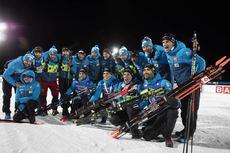 07.12.2019, Oestersund, Sweden, (SWE):Simon Desthieux (FRA), Emilien Jacquelin (FRA), Quentin Fillon Maillet (FRA), Martin Fourcade (FRA), (l-r) - IBU world cup biathlon, relay men, Oestersund (SWE). www.nordicfocus.com. © Manzoni/NordicFocus. Every dow
