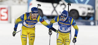 07.12.2019, Oestersund, Sweden, (SWE):Martin Ponsiluoma (SWE), Sebastian Samuelsson (SWE), (l-r) - IBU world cup biathlon, relay men, Oestersund (SWE). www.nordicfocus.com. © Manzoni/NordicFocus. Every downloaded picture is fee-liable.