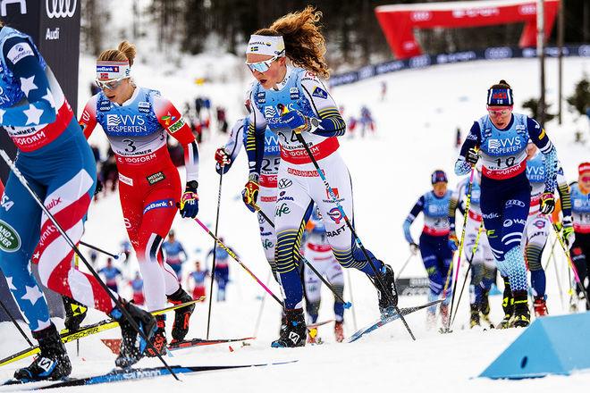 MOA LUNDGREN imponerade i lördagens skiathlon, nu åker IFK Umeå-talangen sista sträckan för Sverige i söndagens världscupstafett i Lillehammer. Foto: NORDIC FOCUS