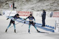 07.12.2019, Oestersund, Sweden, (SWE):Quentin Fillon Maillet (FRA), Simon Desthieux (FRA), (l-r) - IBU world cup biathlon, relay men, Oestersund (SWE). www.nordicfocus.com. © Manzoni/NordicFocus. Every downloaded picture is fee-liable.