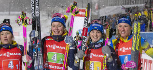 08.12.2019, Oestersund, Sweden, (SWE):Linn Persson (SWE), Elvira Oeberg (SWE), Mona Brorsson (SWE), Hanna Oeberg (SWE) - IBU world cup biathlon, relay women, Oestersund (SWE). www.nordicfocus.com. © Nico Manzoni/NordicFocus. Every downloaded picture is