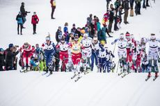 23.03.2019, Quebec, Canada (CAN):Therese Johaug (NOR), Jessica Diggins (USA), Stina Nilsson (SWE), Frida Karlsson (SWE), Evelina Settlin (SWE), Maiken Caspersen Falla (NOR), (l-r)  - FIS world cup cross-country, mass women, Quebec (CAN). www.nordicfocus.