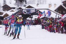 17.12.2017, Annecy-Le Grand Bornand, France (FRA):Johannes Thingnes Boe (NOR), Simon Schempp (GER), Jakov Fak (SLO), Martin Fourcade (FRA), (l-r) -  IBU world cup biathlon, mass men, Annecy-Le Grand Bornand (FRA). www.nordicfocus.com. © Manzoni/NordicFo