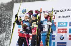 13.12.2019, Hochfilzen, Austria (AUT):Ingrid Landmark Tandrevold (NOR), Dorothea Wierer (ITA), Svetlana Mironova (RUS), (l-r) - IBU world cup biathlon, sprint women, Hochfilzen (AUT). www.nordicfocus.com. © Manzoni/NordicFocus. Every downloaded picture