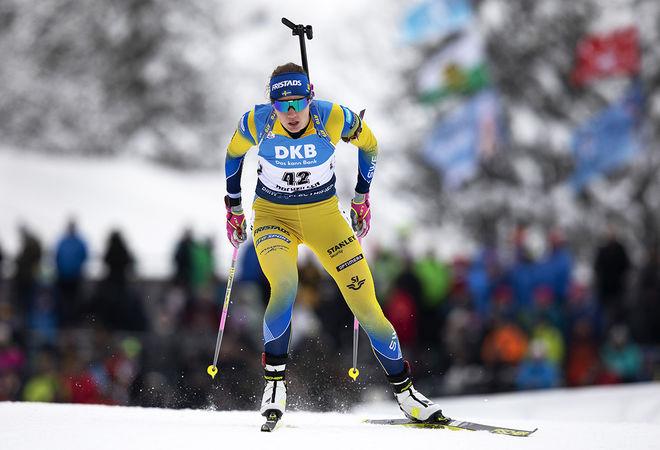 HANNA ÖBERG på väg mot en stark 5:e plats i damsprinten i österrikiska Hochfilzen. Foto: NORDIC FOCUS
