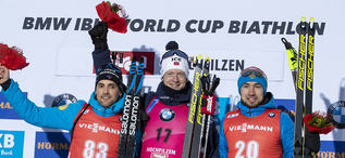 13.12.2019, Hochfilzen, Austria (AUT):Simon Desthieux (FRA), Johannes Thingnes Boe (NOR), Alexander Loginov (RUS) - IBU world cup biathlon, sprint men, Hochfilzen (AUT). www.nordicfocus.com. © Nico Manzoni/NordicFocus. Every downloaded picture is fee-li