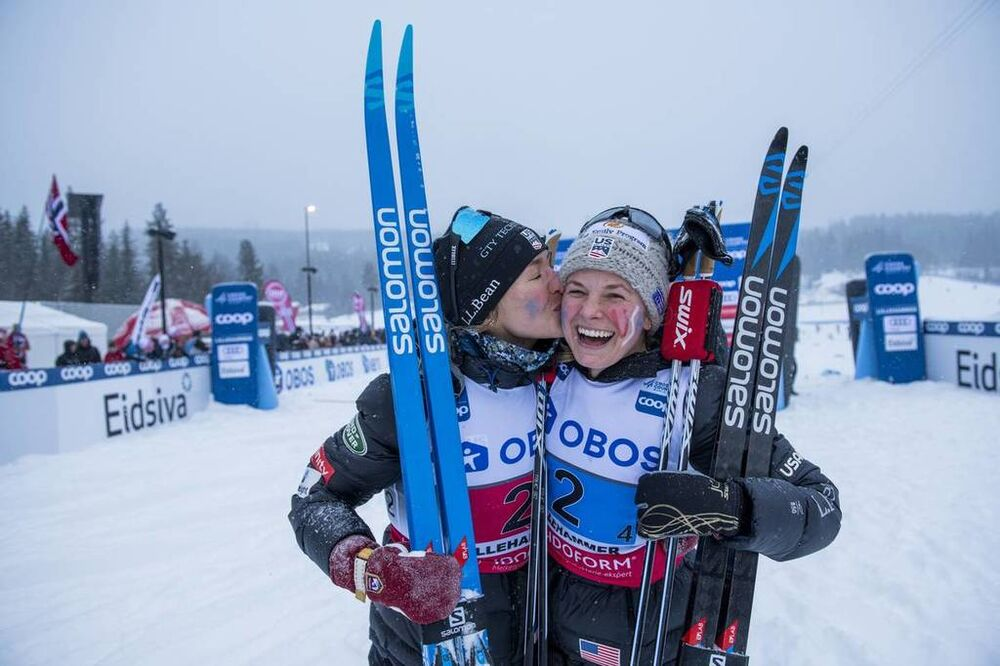 08.12.2019, Lillehammer, Norway (NOR):Sophie Caldwell (USA), Jessica Diggins (USA) - FIS world cup cross-country, 4x5km women, Lillehammer (NOR). www.nordicfocus.com. © Vianney THIBAUT/NordicFocus. Every downloaded picture is fee-liable.