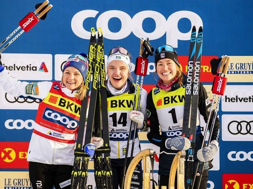 14.12.2019, Davos, Switzerland (SUI):Maiken Caspersen Falla (NOR), Linn Svahn (SWE), Sophie Caldwell (USA), (l-r)  - FIS world cup cross-country, individual sprint, Davos (SUI). www.nordicfocus.com. © Modica/NordicFocus. Every downloaded picture is fee-