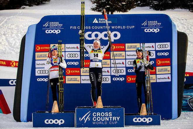 LINN SVAHN vann sensationellt sprinten i Davos före Maiken Caspersen Falla och Sophie Caldwell. Banan i Dresden borde passa ännu bättre. Foto: NORDIC FOCUS