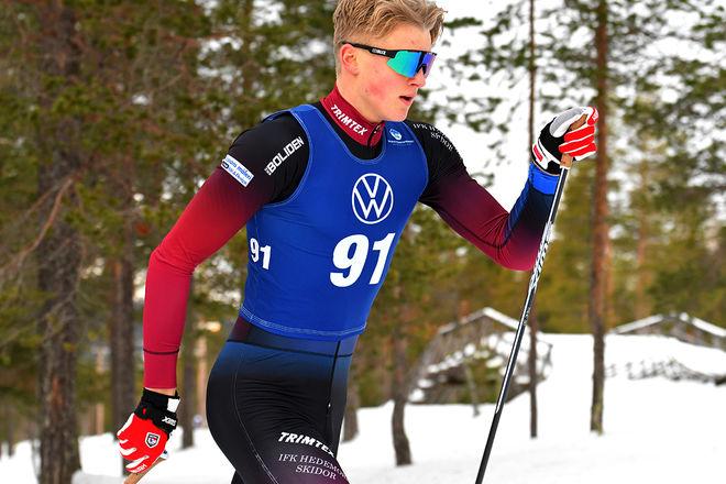 EDVIN ANGER från Hedemora vann ungdoms-OS i Lausanne och han följde upp med att vinna sprinten i den nordiska juniorlandskampen och Scandic Cup på Lugnet i Falun. Foto/rights: ROLF ZETTERBERG/kekstock.com