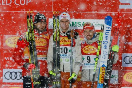 21.12.2019, Ramsau, Austria (AUT):Jarl Magnus Riiber (NOR), Vinzenz Geiger (GER), Fabian Rießle (GER) (l-r) - FIS world cup nordic combined, individual gundersen HS98/10km, Ramsau (AUT). www.nordicfocus.com. © Volk/NordicFocus. Every downloaded picture