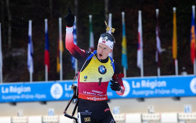 JOHANNES THINGNES BØ jublar för sin 6:e seger för säsongen, men vinner norrmannen världscupen när han nu hoppar av för att bli pappa? Foto: NORDIC FOCUS