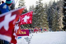 28.12.2019, Lenzerheide, Switzerland (SUI):Federico Pellegrino (ITA), Alexander Bolshunov (RUS), Iivo Niskanen (FIN), Sergey Ustiugov (RUS), Johannes Hoesflot Klaebo (NOR), (l-r)  - FIS world cup cross-country, tour de ski, mass women, Lenzerheide (SUI).