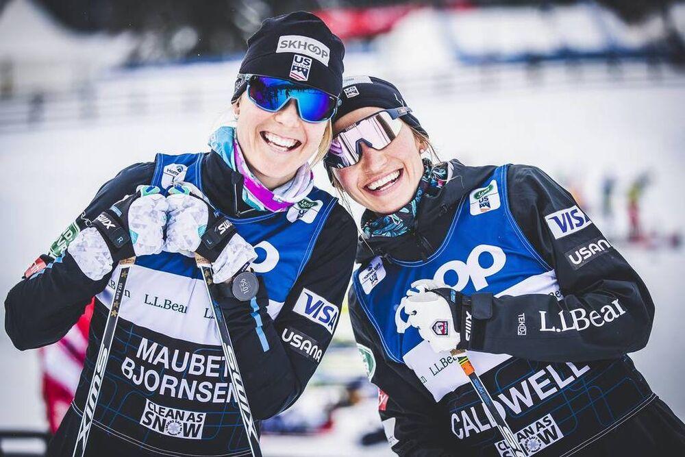 27.12.2019, Lenzerheide, Switzerland (SUI):Sadie Maubet Bjornsen (USA), Sophie Caldwell (USA), (l-r)  - FIS world cup cross-country, tour de ski, training, Lenzerheide (SUI). www.nordicfocus.com. © Modica/NordicFocus. Every downloaded picture is fee-lia