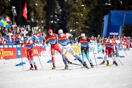 29.12.2019, Lenzerheide, Switzerland (SUI):Johan Haeggstroem (SWE), Gleb Retivykh (RUS), Richard Jouve (FRA) - FIS world cup cross-country, tour de ski, individual sprint, Lenzerheide (SUI). www.nordicfocus.com. © Modica/NordicFocus. Every downloaded pi