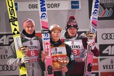 29.12.2019, Oberstdorf, Germany (GER):Ryoyu Kobayashi (JPN), Karl Geiger (GER), Dawid Kubacki (POL) - FIS world cup ski jumping, four hills tournament, individual HS137, Oberstdorf (GER). www.nordicfocus.com. © Tumashov/NordicFocus. Every downloaded pic