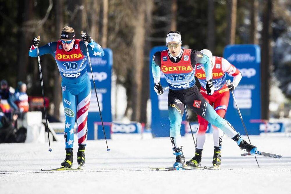 29.12.2019, Lenzerheide, Switzerland (SUI):Richard Jouve (FRA), Logan Hanneman (USA), (l-r)  - FIS world cup cross-country, tour de ski, individual sprint, Lenzerheide (SUI). www.nordicfocus.com. © Modica/NordicFocus. Every downloaded picture is fee-lia