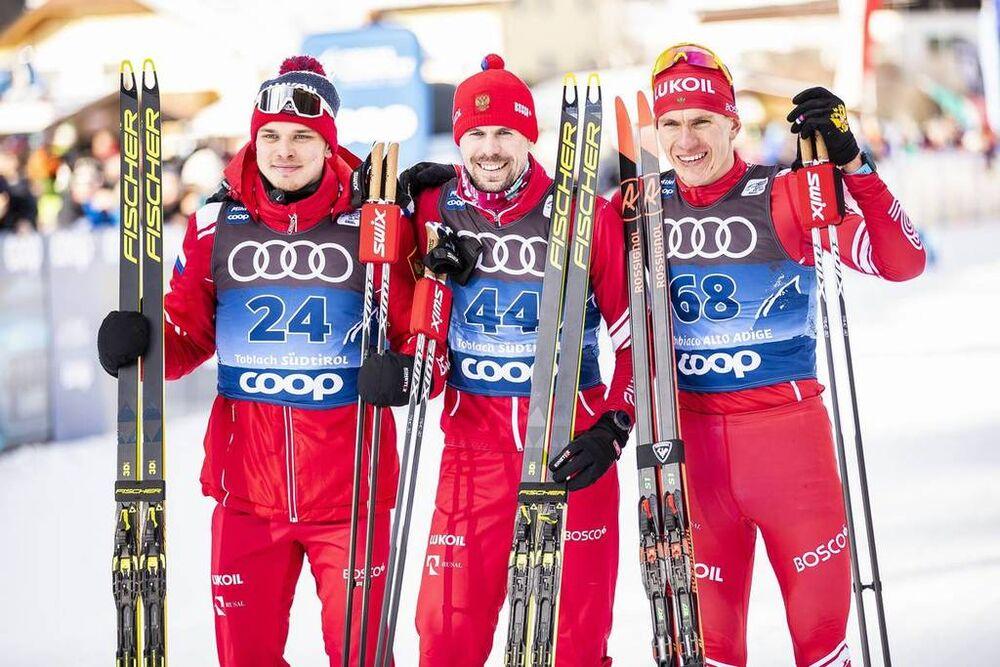 31.12.2019, Toblach, Italy (ITA):Ivan Yakimushkin (RUS), Sergey Ustiugov (RUS), Alexander Bolshunov (RUS), (l-r)  - FIS world cup cross-country, tour de ski, 15km men, Toblach (ITA). www.nordicfocus.com. © Modica/NordicFocus. Every downloaded picture is