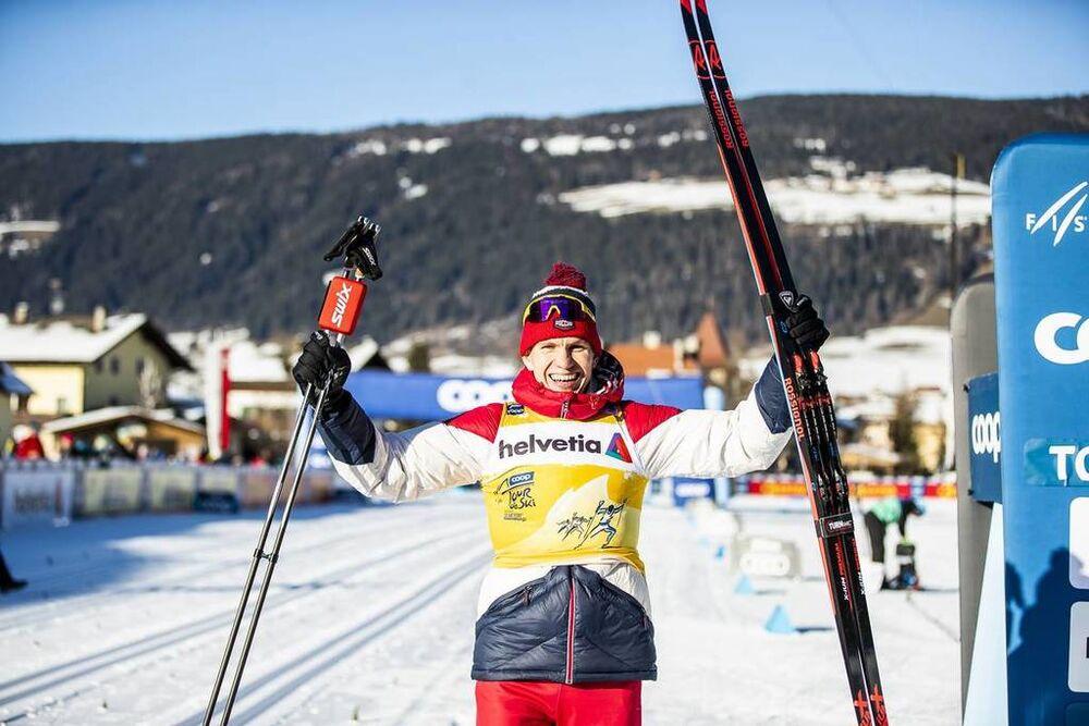 01.01.2020, Toblach, Italy (ITA):Alexander Bolshunov (RUS) - FIS world cup cross-country, tour de ski, pursuit men, Toblach (ITA). www.nordicfocus.com. © Modica/NordicFocus. Every downloaded picture is fee-liable.
