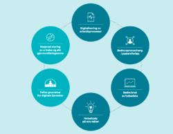 6 strategiske satsingsområder. Fra Nasjonal e-helsestrategi 2017-22.