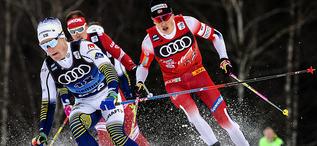 03.01.2020, Val di Fiemme, Italy (ITA):Jens Burman (SWE), Johannes Hoesflot Klaebo (NOR), (l-r)  - FIS world cup cross-country, tour de ski, mass men, Val di Fiemme (ITA). www.nordicfocus.com. © Modica/NordicFocus. Every downloaded picture is fee-liable