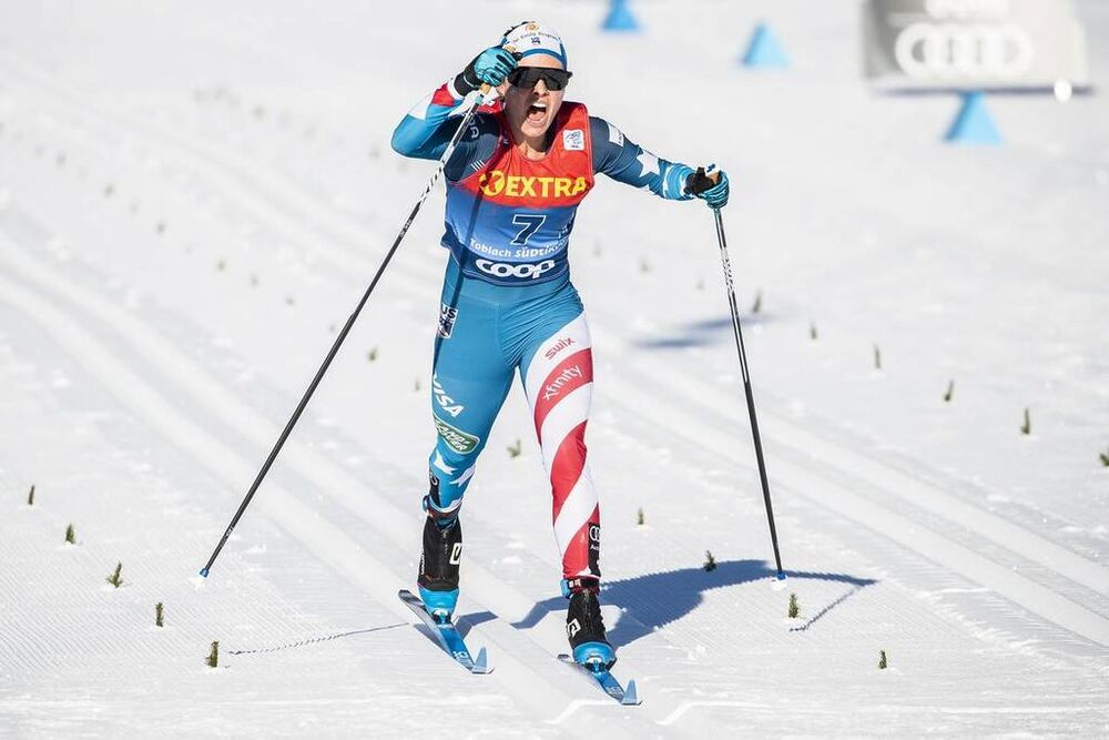 01.01.2020, Toblach, Italy (ITA):Jessica Diggins (USA) - FIS world cup cross-country, tour de ski, pursuit women, Toblach (ITA). www.nordicfocus.com. © Modica/NordicFocus. Every downloaded picture is fee-liable.
